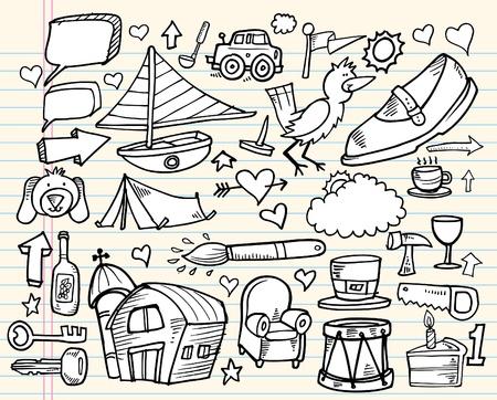 Notebook Doodle Design Elements Mega Vector Illustration Set Vector