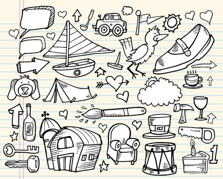 Notebook Doodle Design Elements Mega Vector Illustration Set Vector