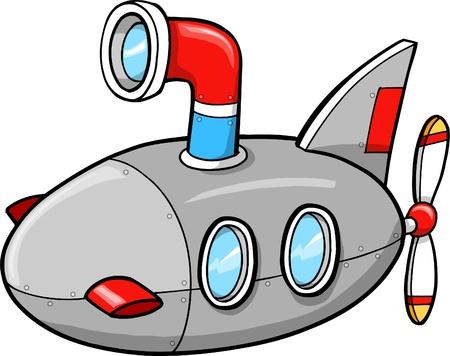 submarine: Cute Little Submarine Ship Vector Illustration