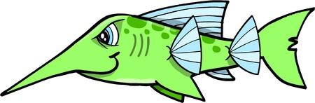 Green Mean Tough Swordfish Vector Illustration  Ilustração
