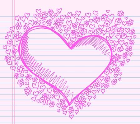 Pink Doodle Sketch Heart and Flower Notebook Design Vector Illustration