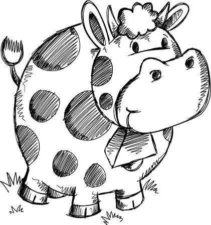 Cute Doodle Sketch Cow Vector Illustratie