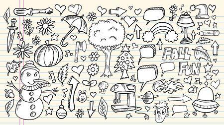 ノートの落書きスケッチ デザイン要素メガ ベクトル イラスト セット