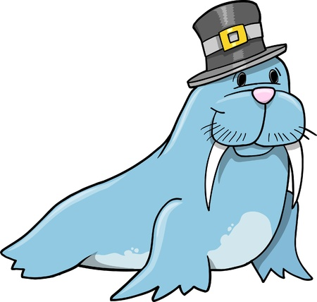 Cute Walrus with hat Vector Illustration