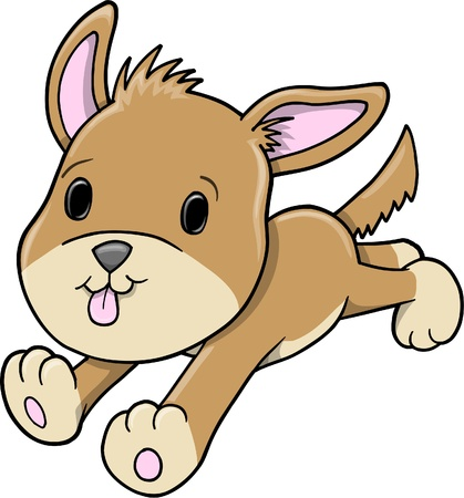 Cute Running Baby Puppy Dog Vector Illustration