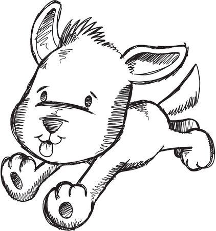 Cute Sketch Doodle Puppy Dog Vector Illustration  Stock Vector - 11655598