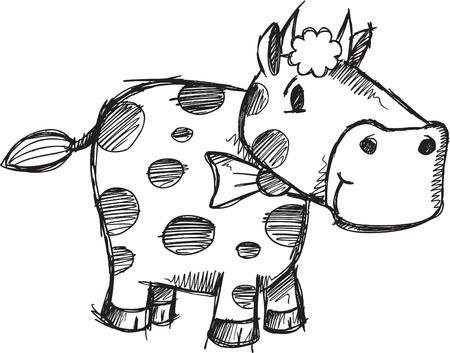 かわいい落書きスケッチ ドローイング牛ベクトル イラストレーション  イラスト・ベクター素材