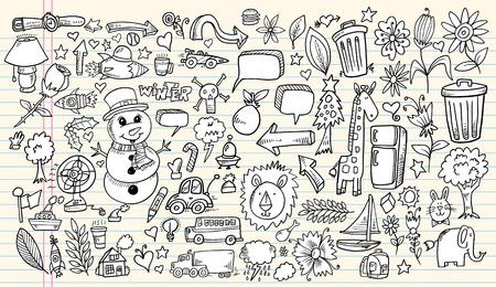 camion de basura: Dise�o port�til Doodle elementos de croquis Mega Ilustraci�n Vectorial Set