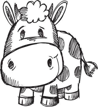 Cute Doodle Sketch Cow Vector Illustration