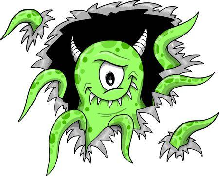 Green Halloween Monster Vector Illustration  Ilustração