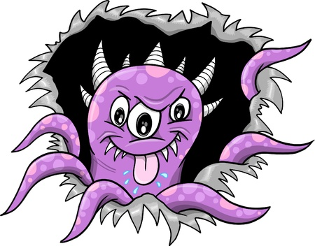 Purple Halloween Monster Vector Illustration