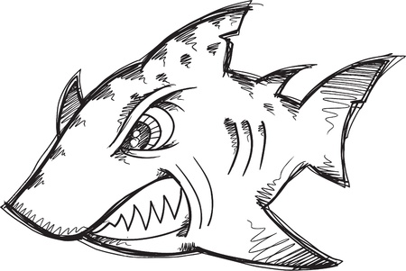 hostile: Doodle Sketch Tough Mean Shark Vector Illustration