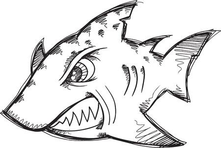tough: Doodle Sketch Tough Mean Shark Vector Illustration