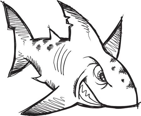 sketch: Doodle Sketch Tough Mean Shark Vector Illustration