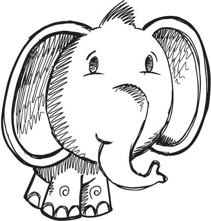 Schets Doodle Tekenen Safari Elephant Vector Illustratie
