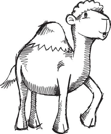Doodle Sketch Camel Vector Illustratie