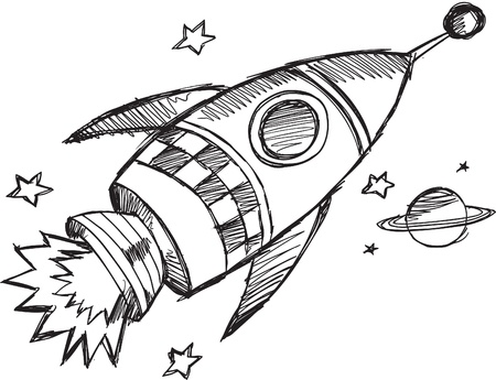 space: Doodle Sketch Rocket Vector Illustration  Illustration