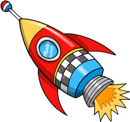 Cute Rocket Vector Illustration