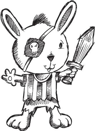 Doodle Sketch Pirate Bunny. Konijn Illustratie