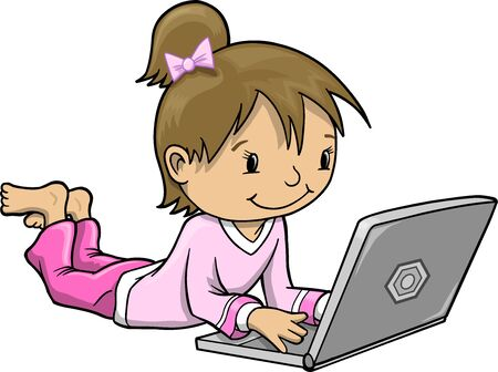 Girl with Laptop Computer Illustration