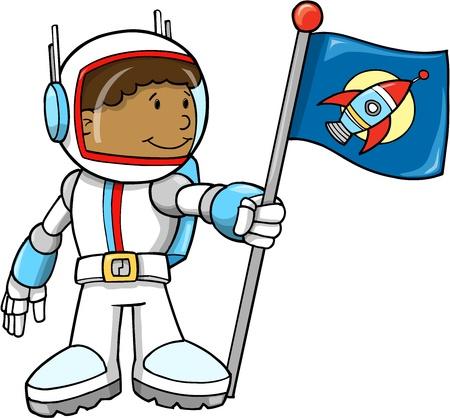 astronauta: Ilustración astronauta lindo