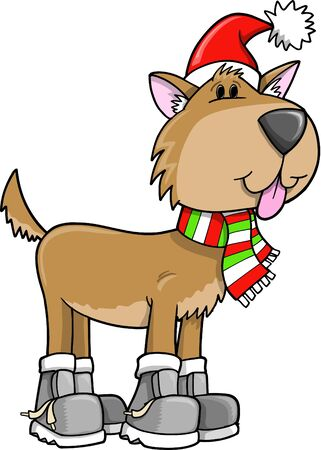 Cute Holiday Christmas Puppy Dog Illustration Vector