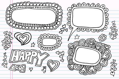 Notebook Doodle Speech Bubble vector Set