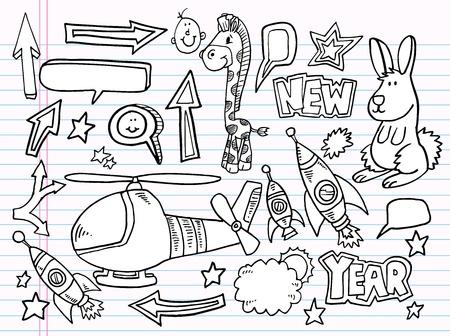 notebook: Notebook Doodle Sketch Vector Elements Set