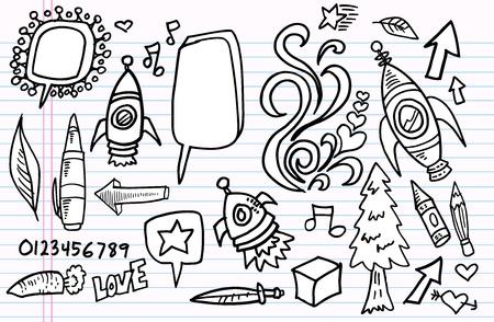 ノートの落書きのスケッチ要素ベクトルを設定