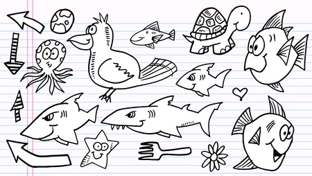 Notebook Doodle Sketch  Elements  Vector Set Stock Vector - 11949779