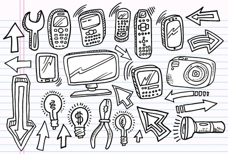 Notebook Doodle Sketch electronics Vector Set