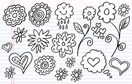 Notebook Doodle Sketch Flower Vector Set  向量圖像