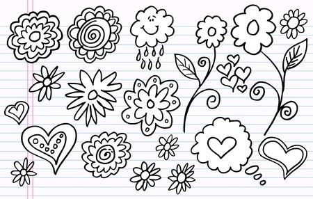 Notebook Doodle Sketch Flower Vector Set Stock Illustratie