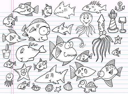 Notebook Doodle Summer Ocean Animal Vector Set Stock Vector - 12066962