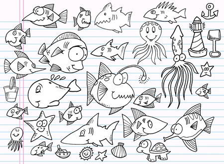 Notebook Doodle Summer Ocean Animal Vector Set