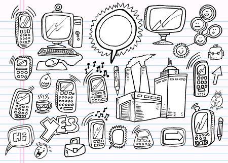 notebook: Notebook Doodle Electronics Work Business Design Set