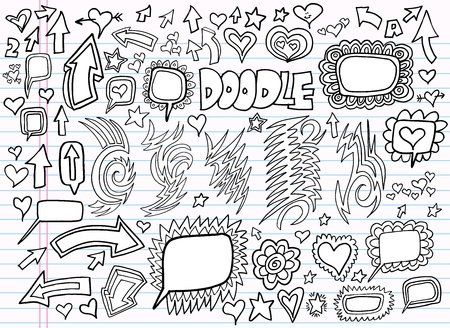 Notebook Doodle Design Elements Set  Vector