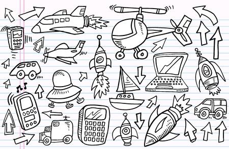Notebook Doodle Sketch transportation and technology Design Elements Illustration Set  Vector