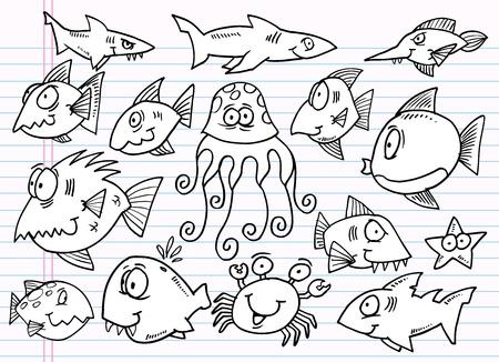 황새치: 노트북 낙서 스케치 해양 동물 디자인 요소 메가 그림 세트