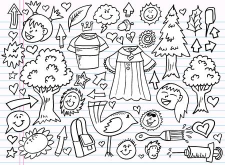 Notebook Doodle Sketch Design Elements Mega Illustration Set  Ilustrace