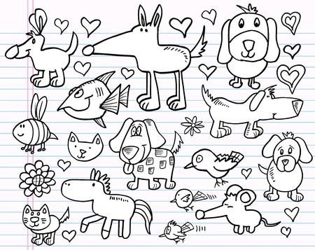 puppy love: Notebook Doodle Sketch elementos animales Escenografía Ilustración Mega Vectores