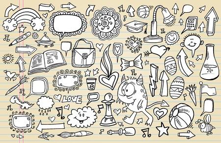 Notebook Doodle Sketch Design Elements Mega Illustration Set  Stock Vector - 12009178