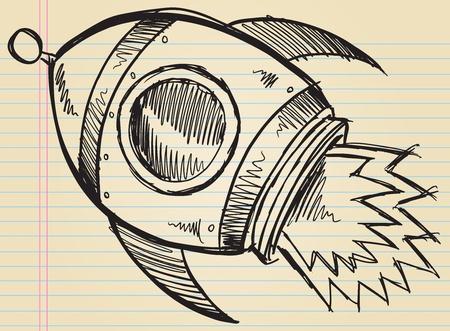 Notebook Doodle Sketch Cute Rocket Art