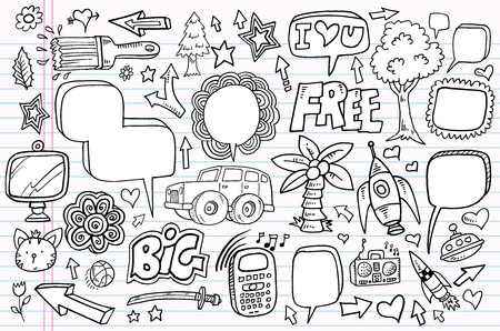 Mega doodle sketch drawing vector element illustration notebook set Stock Vector - 12151116