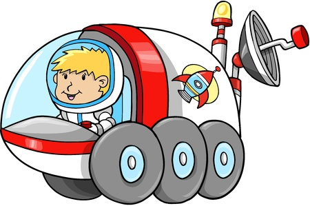 Cute Outer Space Moon Buggy Vector Illustration