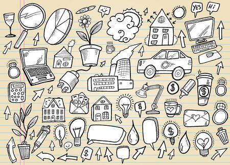 Notebook Doodle Business and Technology-Design-Elemente Vector Set Standard-Bild - 12151129