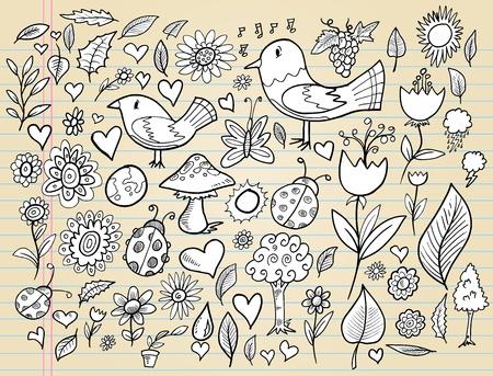 Notebook Doodle Spring Time Design Elements Vector Illustration Set Zdjęcie Seryjne - 12151130