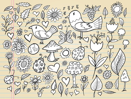 Notebook Doodle Spring Time Design Elements Vector Illustration Set  Vettoriali