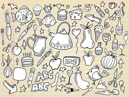 Notebook Doodle Design Elements Vector Illustration Set  Illusztráció