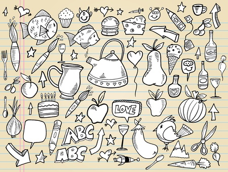 Notebook Doodle Design Elements Vector Illustration Set  Vector